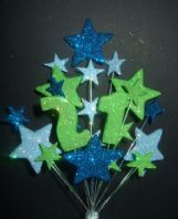 Number age 21st birthday cake topper decoration in shades of blue and lime - free postage